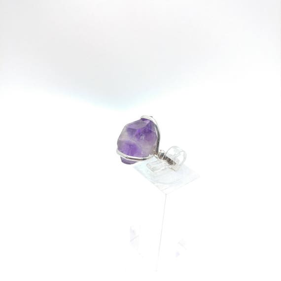 Raw Amethyst Ring | Sterling Silver Ring Sz 7 | Raw Stone Ring | Raw Crystal Ring | Amethyst Jewelry for Wife | Rough Purple Quartz Ring
