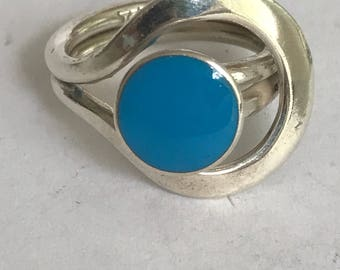 Taxco Turquoise Sterling Ring Adjustable 925 Silver Mexico Mexican Vintage Jewelry Southwestern Christmas Mother's Anniversary Birthday Gift