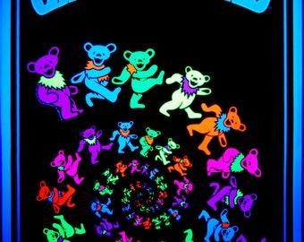 Rare Grateful dead Dancing Bears Flocked BLACK LIGHT Poster Vintage