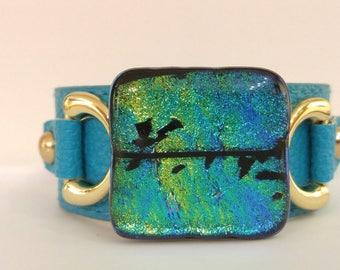 Turquoise Sparkle Cuff Bracelet, Dichroic Glass