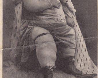 Antique c1930s Souvenir Card - Mlle Teresina The Fat Lady - Sideshow Freak