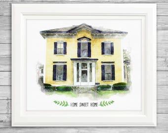 Digital Watercolor House Portrait, custom digital house painting, housewarming gift, realtor gift, custom home painting