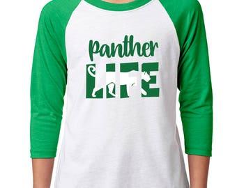 Youth Panther Life Raglan - School Spirit - Panthers - Unisex 3/4 Sleeve Green/White Baseball Tee