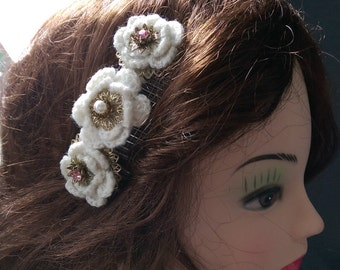 SALE Vintage hair comb accessory with three crochet and jewel flower centrepieces cabochons. Eye catching, unique.Wedding and all occasions.