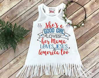 4th of July Dress, Fourth of July Dress, Independence Day, She's a Good Girl Loves her Mama, Fringe Dress, First 4th of July, Summer Dress