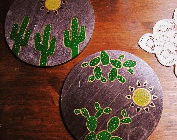 Boho Table Decor - Drink Coasters Set for Two - Southwestern Decor - Wood Coasters - Cactus Decor - Boho Hauseware - Gift for Couple