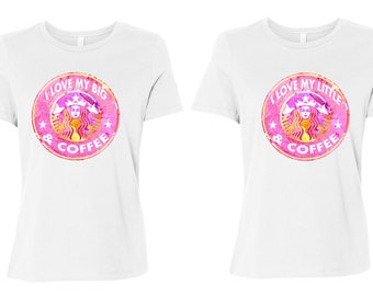 Starbucks Big and Little Sorority Shirts, Coffee Shirts for big little