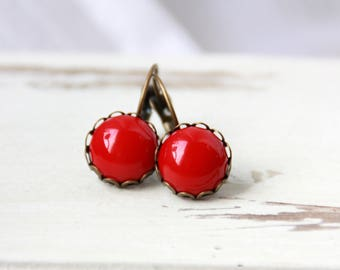 Bronze earrings, earrings, red, 12 mm, earrings bronze, red earrings, earrings bronze earrings, vintage earrings