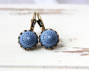 Blue mosaic earrings, 12 mm bronze earrings, blue earrings, earrings mosaic blue white