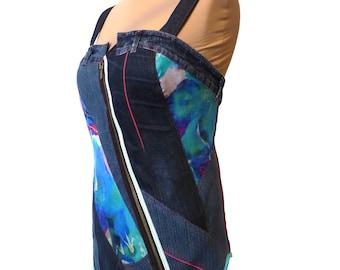 Top Bustier jean grande taille 44/46 et soie peinte original et unique