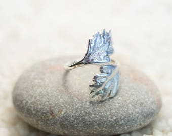 Silver leaf ring, Sterling Silver, Boho Ring, Oak Leaf Ring, Gift for Her, Nature, Handmade Jewelry, Adjustable Ring