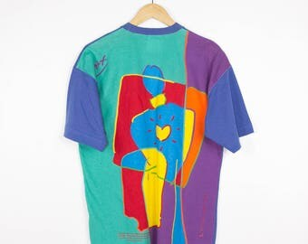 1990 PETER MAX shirt - vintage 90s - pop art print