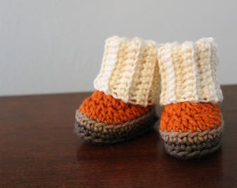 RTS Handmade Baby Booties, Newborn Boots, Infant Shoes, Crocheted Brown Boots, Nursery, Baby Shower Gift, Boy Girl Shower Present