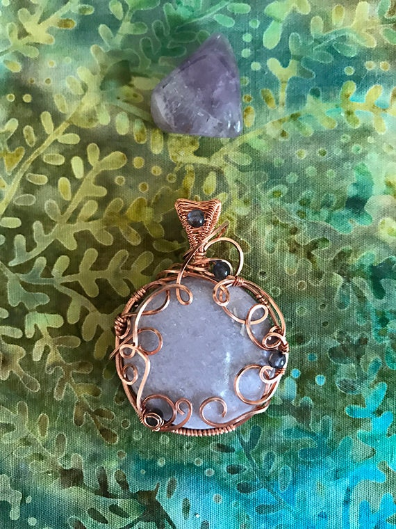 Copper Wire Wrapped Lepidolite and Tanzanite Pendant, Healing Jewelry