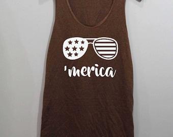 Merica Shirt 4th of July Shirt Tank Top Singlet Tunic TShirt T Shirt