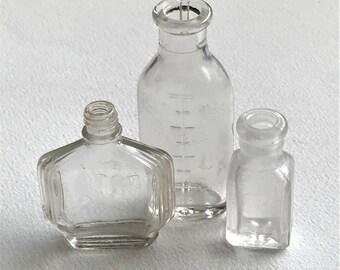 Miniature Old Bottles - Vintage Tiny Perfume Bottle - Old Medicine Bottles - 1930s Apothecary Bottles - Old Pharmacy Bottles - Mini Lot2
