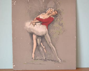 Vintage print Ballerina Swan Lake ballet mid century