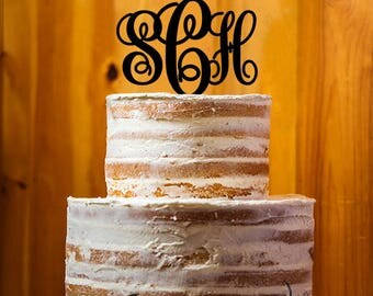 Initial Cake Topper, Personalized Cake Topper, Monogram Cake Topper, Wedding Cake Topper, initial Letter Acrylic Cake Topper - AT147