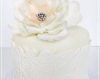 Chic White Lace Faux Cake