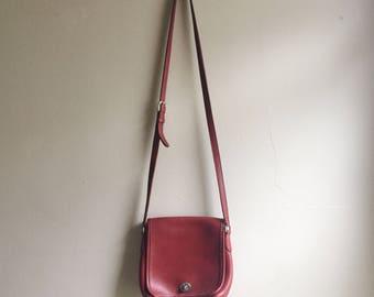 Vintage 1990s red crossbody COACH purse   adjustable strap   red COACH bag   Able Shoppe   coach handbag   coach purse