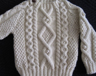 Irish Aran 100% Wool Toddler Sweater, Design B
