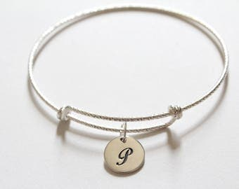 Sterling Silver Bracelet with Sterling Silver Cursive P Letter Charm, Bracelet with Silver Letter P Pendant, Initial P Charm Bracelet, P