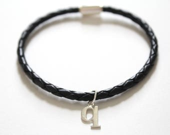 Leather Bracelet with Sterling Silver Typewriter Q Letter Charm, Bracelet with Silver Letter Q Pendant, Initial Q Charm Bracelet, Q Bracelet