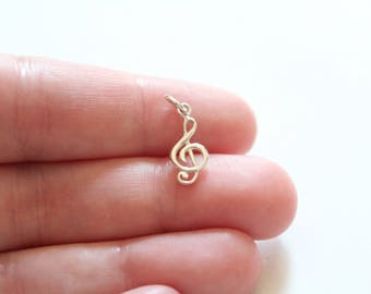 Sterling Silver Treble Clef Music Charm, Sterling Silver Treble Clef Charm, Music Note Charm, Music Lover Charm, Charm for Musician