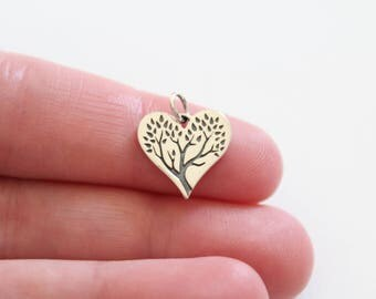 Sterling Silver Tree of Life Charm, Tree of Life Pendant, Family Tree Pendant, Family Tree Heart Charm, Family Tree Charm, Tree Heart Charm
