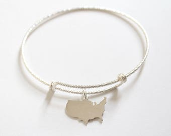 Sterling Silver Bracelet with Sterling Silver United States Charm, United States Charm Bracelet, USA Charm Bracelet, USA Bracelet, USA Charm