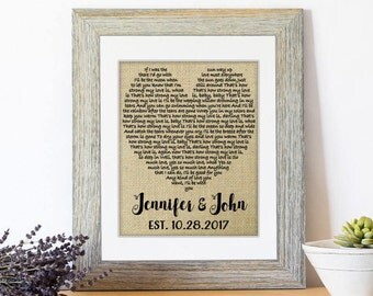 One Year Anniversary Gift, Wedding Gift, First Dance Love Song Lyrics, Personalized Wedding 1st Anniversary Gifts, Wedding Decor, Lyrics