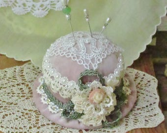 Vintage style Pincushion - Brooch Holder - Sewing Notions - Shabby Chic, Keepsake for Her