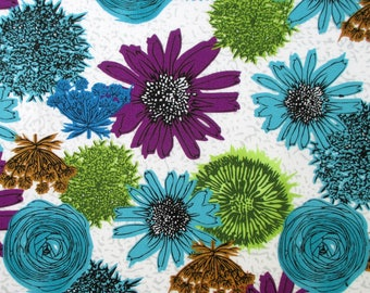 Fabric, Makers Home, Blue and Purple Blossoms on White, Windham Fabrics, Floral, Natalie Barnes, By The Yard