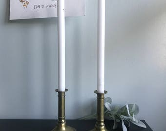 Oval base brass candlestick holders
