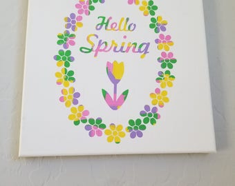 Hello Spring - Tulip Painted Canvas
