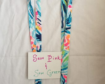 Lanyard Made With Lilly Pulitzer Serene Blue Tippy Top fabric
