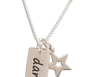 Sterling Silver Dance Charm Necklace with a Dainty Star from our Silver Stories Collection comes in a Gift Box (BCN-Dance)