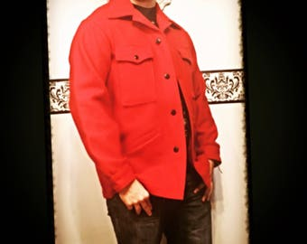 1960's Men's Pendleton Red Lumberjack Wool Peacoat Jacket, Size Medium, Large, Vintage Men's 1960's Pendleton Grunge Wool Flannel Pea Coat