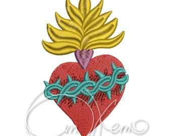 MACHINE EMBROIDERY DESIGN - Sacred heart embroidery file, mexican embroidery
