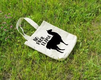 No prob-llama market bag. Customize text color. Canvas tote bag.
