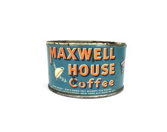 Coffee Can Vintage 1940s Maxwell House Coffee Tin Old 1930 Blue Coffee Tin Can Antique Coffee Can Tin 1940s Maxwell House