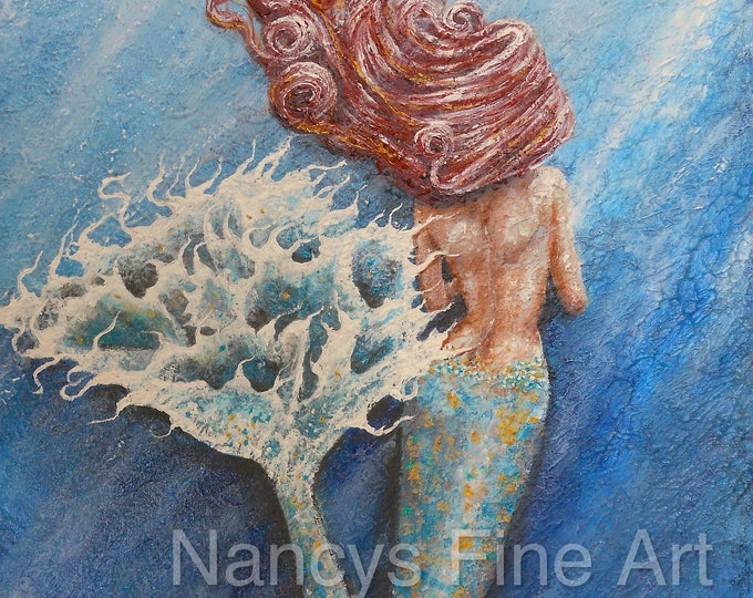 Mermaid OOAK wall art, beautiful little mermaid original painting on stretched canvas, red haired mermaid painting by Nancy Quiaoit.
