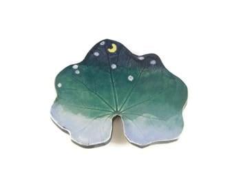 Hollyhock Leaf dish - pottery - night sky leaf - starry night - ring dish - spoon rest - fall leaf - space decor - stargazer dish