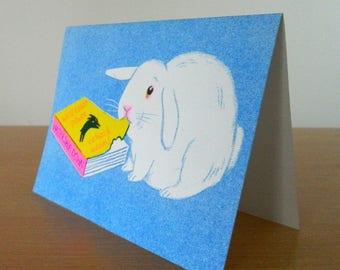 Rabbit risograph card