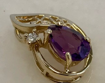 Beautiful 14k Yellow Gold Amethyst Pendant