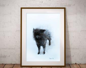Black Dog wall painting. Dog illustration, dog portrait. Dog wall art, dog wall decor. Black dog wall painting. FREE SHIPPING!
