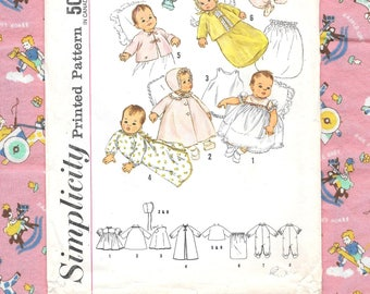 1950s - 60s Infants' Layette Baby Clothes ~ Vintage Sewing Pattern ~ One Size ~ Baby Dress ~ Hat & Coat ~ Slip ~ Bunting ~ Sacque ~ Gown