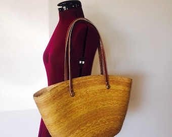 60s Straw Shoulder Bag Wicker Purse Beach Bag Leather Hong Kong