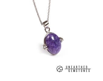 Dainty Charoite Necklace Purple Gemstone Necklace, Charoite Jewelry, Crystal Necklace, Charoite Pendant, Designer Jewelry