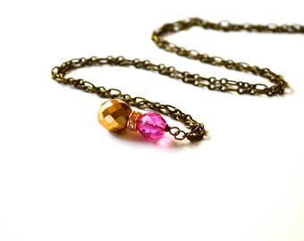 Romantic Vintage Pink And Bronze Necklace, Vintage Necklace, Handmade Necklace, Pendant, Gift For Her Under 25 Dollar, Bohemian, Victorian.